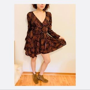 Ecote long sleeve wrap dress